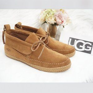 🆕UGG Moc Toe Bootie Lace Up Chestnut Brown Suede